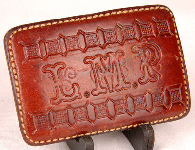 Leather Belt Buckle-Hand Tooled-Handmade-L.M.P. Initials-Vtg Western