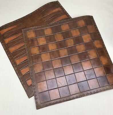 Leather Backgammon & Chess Checkers Boards ~ Vintage DIY  Woodworking