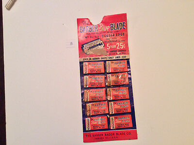 Vintage The Barber Razor Blades On Display Card Great Graphics Razor Blades #5