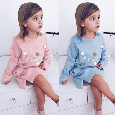 Toddler Kids Baby Girl Letter Cotton Pullover Sweatshirt Dress Clothes Outfits
