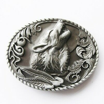 Original Antique Silver Howling Wolf Western Metal Belt Buckle