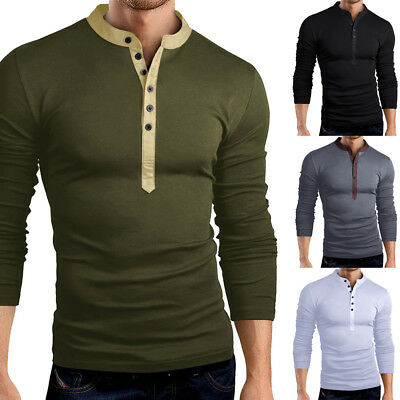 USA Men Slim Fit V Neck Long Sleeve Cotton Muscle Tee T-shirt Casual Tops Blouse