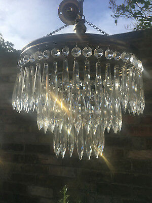 Glittering Large Vintage Three Tier Crystal Waterfall Chandelier Pair Available