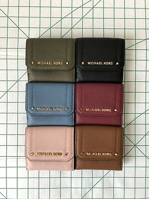 a671b822b788 Michael Kors Hayes Medium Trifold Coin Case Wallet Pebbled Leather Various  Color