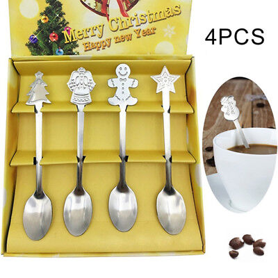 4pcs/set Coffee Spoon Christmas Tableware Stainless Steel Tea Ice Cream Spoons