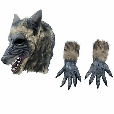 Werewolf Fairytale Wolf Halloween Adults Head Mask Claws Gloves Costume Set