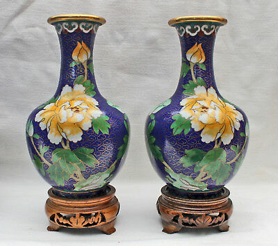 1 Pair Beautiful Cloisonne Vases Wooden Base Bronze Enameled China Approx. 1960