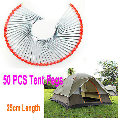 50 x Hard Ground Rock Screw Drill In Steel Pegs - Caravan Camping Tent Awning