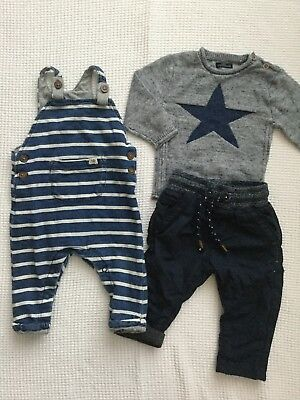 Next Baby Boys 6-9 Months Outfits, Bundle, Dungarees, Star Jumper, Lined Bottoms