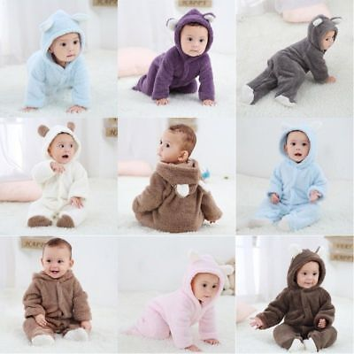 Baby Newborn Infant Boy Girl Romper Hooded Jumpsuit Outfits Bodysuit Clothes UK