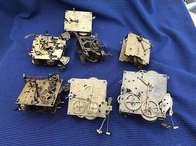 Collection of vintage brass clock movements