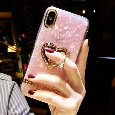 For iPhone XS Max XR X 8 Plus Fashion Bling Ring Holder Marble Case Phone Cover