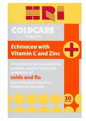 HRI Coldcare 30 Tablets *Echinacea with Vitamin C and Zinc*