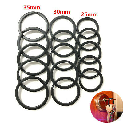 Strong Steel Solid Split Key Ring Black Metal Loop Flat Key Chain Holder 25-35MM