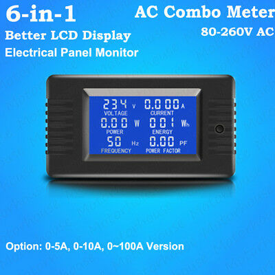 6-in-1 LCD Display AC Combo Meter Voltage Current Power Electrical Panel Monitor
