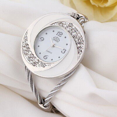Women Steel Bangle Wrist Crystal Round Dial Analog Digital Bracelet Watch MQ