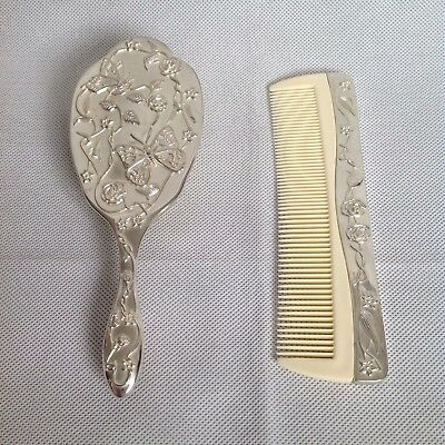 Hair Brush and Comb in Antique Design Metal Handles With Flowers & Butterflies