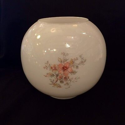 PINK FLOWER GLOBE replacement glass lamp shade for traditional vintage oil lamp