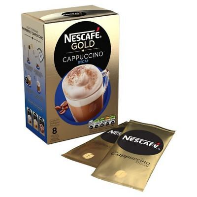 4x Nescafe Gold Decaff Cappuccino Unsweetened Coffee 8 Sachets 120g