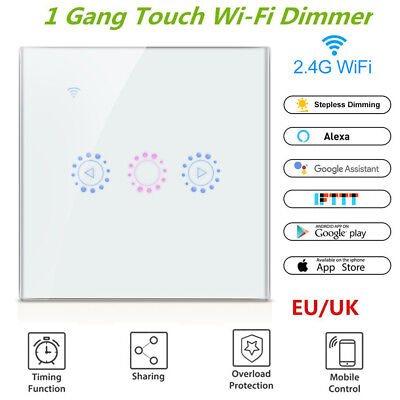 EU WIFI Smart Remotely Dimmer Light Wall Switch Touch Control For Alexa/Google