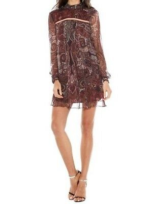 1c797f49c4d The Jetset Diaries TJD Labyrinth Paisley Mini Dress Burgundy Boho Chic L  Large