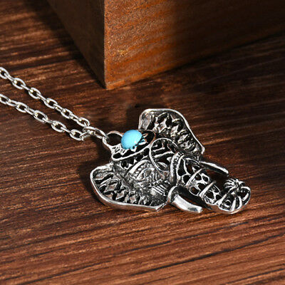 Vintage Elephant Pendant Necklace Chain Hippie Bohemian Turquoise Jewelry Z