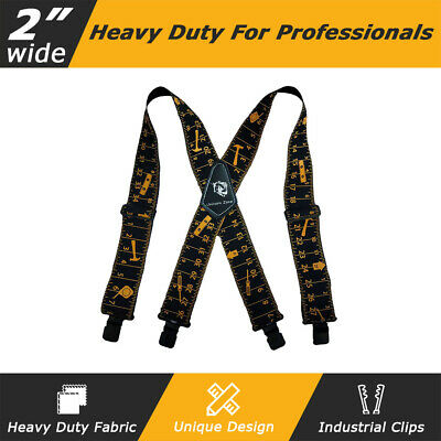 "MELOTOUGH 2""Tool Belt Braces yardstick ruler design Suspenders Industrial Clips"
