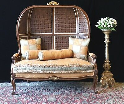 Beautiful Designer French Wicker Throne Porter Double Chair Sofa Couch Lounge