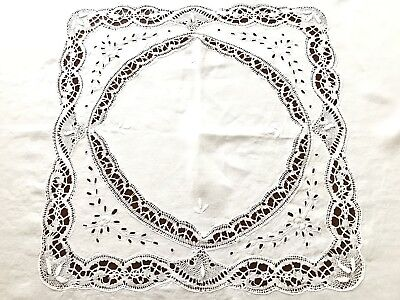 VINTAGE HAND EMBROIDERED Cutwork Lace White LINEN TABLECLOTH 53x53 Inches