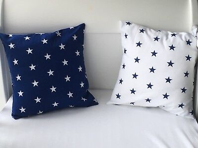 "12"" Handmade Cushion Cover White With Navy Stars"