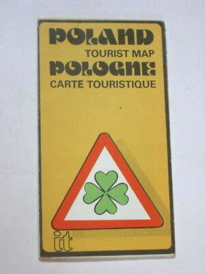 Poland Tourist Road Map 1982 ORBIS. Rail Lines Highways Attractions