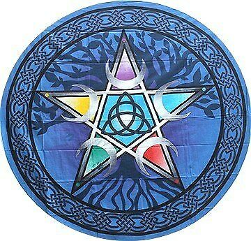 "Round Pentacle Tapestry 60"" 100% Cotton"