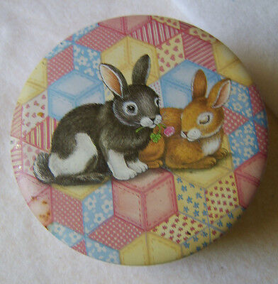 Bunny Tin / Rabbits on Round Metal Container / Quilt Print in Pink