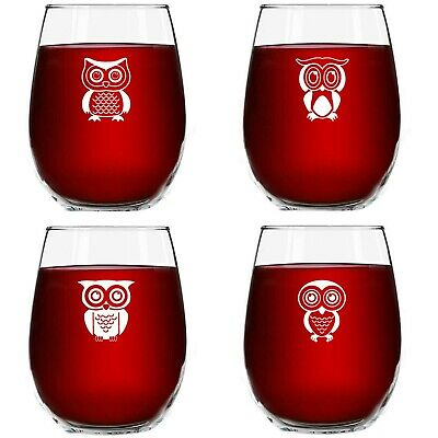 Huis Drunk Buzzed Lit Toasted Collection Set Of 4 Stemless Wine Glass Goblet 17oz