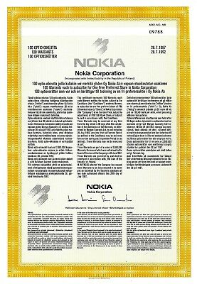 Nokia Corporation (Finnland) 1987  (100 Warrants ) mit Coupons 2-5