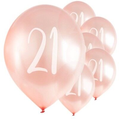 """21st Rose Gold 12"""" Latex Balloons Ladies Birthday Party Helium Quality"""