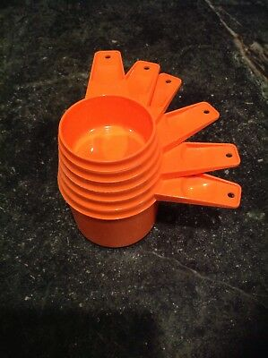 6 Vtg Tupperware Orange Measuring Cup 1/4,1/3,1/2,2/3, 3/4,1 Cup Nesting FreShip