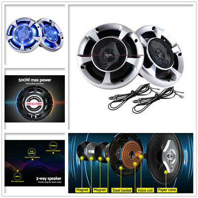 "2x MaxTurbo 6.5"" Inch Car Speakers LED Light 500W Stereo 3-WAY Audio Component"