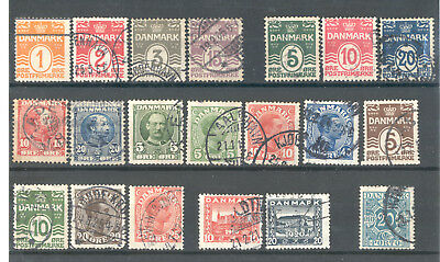 Denmark - Nice Selection of used Stamps Years 1905 - 1922