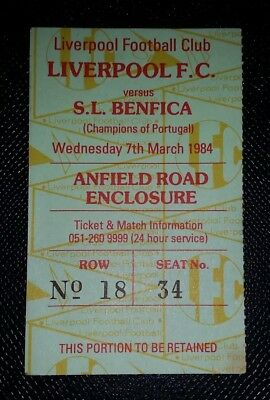 1984 Original European Cup Quarter  Final Ticket Liverpool V Benfica
