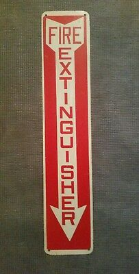 Fire Extinguisher Sign With Arrow Red & White Heavy Metal Vintage Fire Fighting