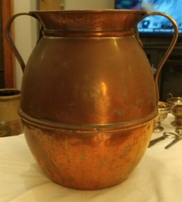 """Vintage LARGE 12"""" Tall 11"""" Wide Rustic Copper Coated Tin Urn 2 Handles Spittoon"""