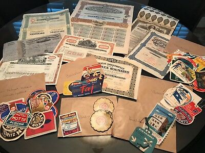 RAIL ROAD Co BONDS + LUGGAGE STICKERS FROM AROUND THE WORLD + MAPS