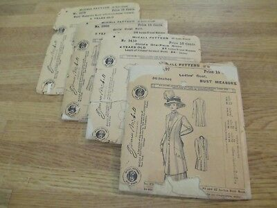 4 antique sewing patterns early 1900s McCall Edwardian Original packaging