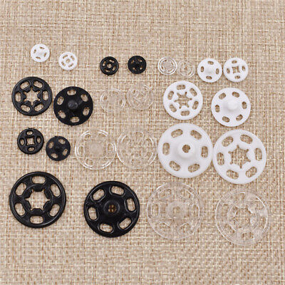 100Pcs Plastic Snap Hollow Invisible Button Clothing Sewing Decorative Black