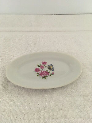 Vintage Soap Trinket Dish Floral Butterfly Porcelain Oval Japan