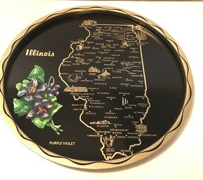 Vintage Illinois State Mid-Century Black Metal Serving Tray  Kitchen Souvenir
