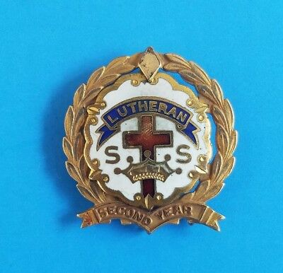 Vintage Lutheran Church Cross Crown SS Lapel Pin Little System 10K Gold Filled