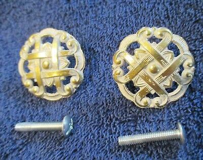 2 - Vintage Furniture Draw Knobs / Pulls / Allison Japan / Brass / Flower