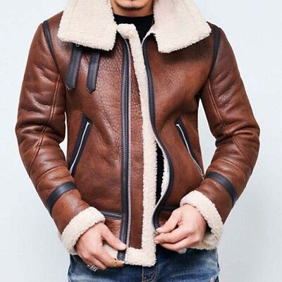 Winter Mens Leather Motorcycle Jacket Fur Lined Outwear Fashion Warm Cotton Coat